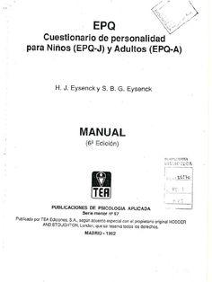 I'm reading EPQ Cuestionario de personalidad para niños (EPQ-J) y adultos (EPQ-A) on Scribd