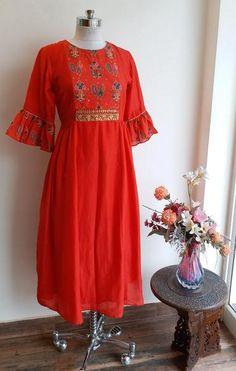 Red Cotton Silk Tunic by Label Kanupriya WhatsApp 9694496961 www.labelkanupriya.com