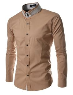 TheLees DCH Mens unique double collar shirts Lightbeige US XS(Tag size M) Slim Fit Casual Shirts, Formal Shirts For Men, Casual Wear For Men, Stylish Shirts, Cool Shirts, Men's Shirts, Double Collar Shirt, Chinese Shirt, Camisa Slim