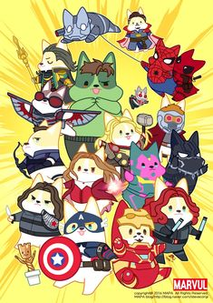 The Avengers, Deadpool, and Groot. Loki Marvel, Chibi Marvel, Marvel Funny, Thor, Avengers Fan Art, Avengers Imagines, Marvel Fan Art, Niedlicher Panda, Avengers Pictures