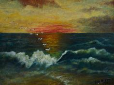 1950s Seascape Painting, Framed (sold)
