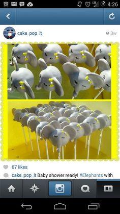 Elephant cake pops for a babyshower!