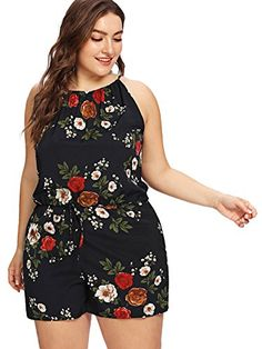 Shop Plus Floral Print Drawstring Waist Romper online. SHEIN offers Plus Floral Print Drawstring Waist Romper & more to fit your fashionable needs. Plus Size Jumpsuit, Short Jumpsuit, Plus Size Shorts, Jumpsuit Style, Romper Pattern, Curvy Girl Outfits, Looks Plus Size, Petti Romper, Plus Size Fashion For Women