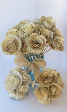 25 Large Book Page Flowers on Paper Wrapped stems
