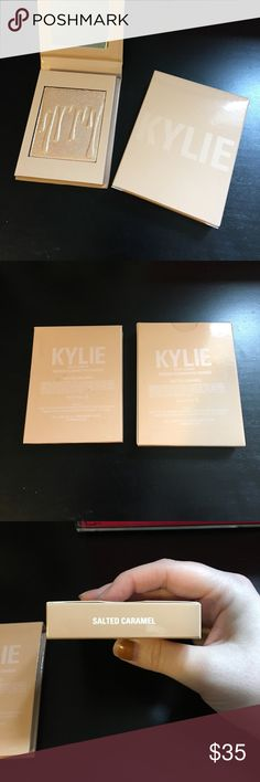 """Kylie Cosmetics Kylighter In the shade """"Salted Caramel."""" I did swatch this, but never used it, too dark for my skin tone. It is such a beautiful shade, but would better suit medium+ skin tones. Currently a sold out product, hence the price, and I'm trying to make my money back (posh fees). 100% authentic. Kylie Cosmetics Makeup Luminizer"""
