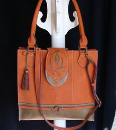 Bag orange and green leather bag handmade high-end by Trouloulou