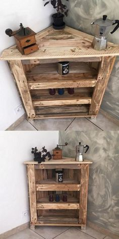 20 Brilliant DIY Pallet Furniture Design Ideas to Inspire You - diy pallet creations DIY-Paletten-Eckschrank-Design Wooden Pallet Projects, Diy Pallet Furniture, Furniture Ideas, Garden Furniture, Upcycled Furniture, Country Furniture, Pallet Diy Decor, Diy Pallet Table, Furniture Websites