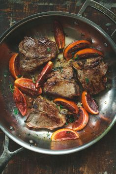 Tartelette: Seared Lamb Chops With Blood Orange Sauce and Roasted Okra With Chili Oil Lamb Recipes, Meat Recipes, Dinner Recipes, Cooking Recipes, Healthy Recipes, Sauce Recipes, Barbacoa, Roasted Okra, Lamb Dishes