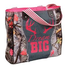 """The Dream Big HotLeaf Camo Handbag is made from canvas, denim and faux leather. RK Outdoors HotLeaf print fabric. Interior and exterior zip pockets, two open storage pockets. Measures 14""""W x 4""""D x 14""""H. ~"""