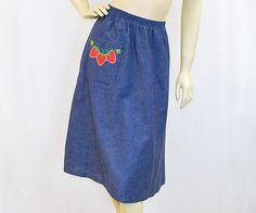 70s chambray skirt with strawberry applique