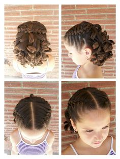 Flowergirl. Did 2 French braids on top. Curled hair underneath. Then tied braids together.