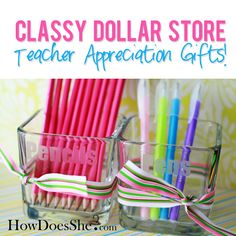 How to turn cute dollar store glasses into Teacher Appreciation Gifts! How cute are these?