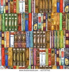 Book. Seamless pattern with books. Book watercolor illustration. Books shelf background. Books seamless pattern.