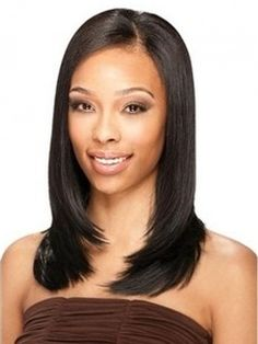Boutique Graceful Medium Kinky Straight Full Lace Wig 100% Human Hair about 16 Inches