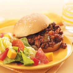 Slow-Cooker Sloppy Joes  You'll never buy a can of sloppy joe sauce after making this! I know I never will
