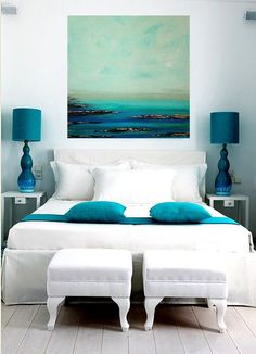 Painting Acrylic Abstract Art on Canvas Coastal by OraBirenbaumArt
