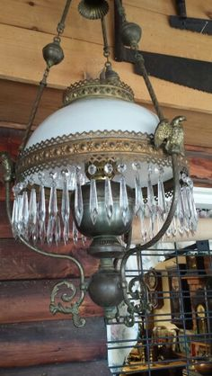 Gorgeous hanging Oil Lamp with Beautiful hanging crystals