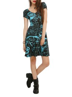 Black dress with a turquoise astrological print, V-neckline and back strap accent.