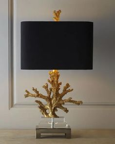 """Gold Coral"" Lamp at Horchow.Love the dimensions, brass coral, rect. black shade - it's neo, contemporary and gorgeous! Would be a perfect desk lamp. Bedside Lamp, Desk Lamp, Table Lamps, Home Lighting, Lighting Design, Table Lighting, Luxury Lighting, Interior Lighting, Estilo Navy"