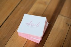 Pink Edge Painted Business Cards