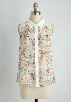 Sun and Spritzers Top - White, Multi, Floral, Print, Buttons, Work, Casual, Fairytale, Button Down, Sleeveless, Spring, Woven, Good, Collared, Mid-length, Chiffon, Sheer