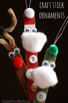 Craft Stick Santa, Elf and Reindeer Ornaments. Super-cute and easy Christmas craft for toddlers and preschoolers - Happy Hooligans