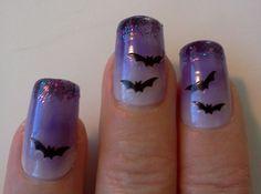 Halloween nail art - purple bats