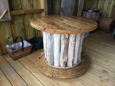 Drivved kabeltrommel bord.