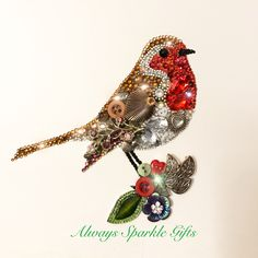 Recycled Jewellery and Button Art Framed gift. Vintage Jewelry Crafts, Recycled Jewelry, Bird Jewelry, Jewelry Art, Antique Jewelry, Jewellery, Button Crafts For Kids, Rhinestone Art, Found Object Art