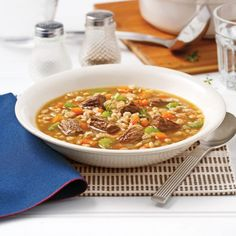 Soupe boeuf et orge Asian Recipes, Healthy Recipes, Ethnic Recipes, Soup Recipes, Cooking Recipes, Recipies, Tacos, Monkey Bread, Soups And Stews