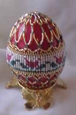Tulips Herringbone Beaded Egg, Sova Enterprises