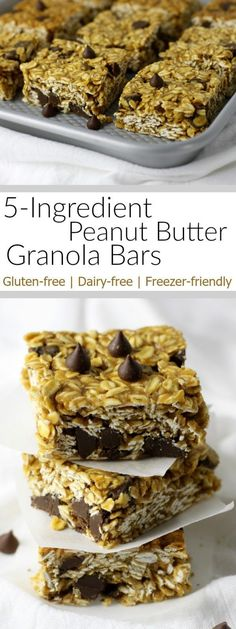 You'll never need to or want to buy a box of granola bars again! These chewy 5-Ingredient Peanut Butter Granola Bars are a breeze to make and a perfect lunch-box addition or afternoon treat for kids and adults. | Gluten-free | Dairy-free