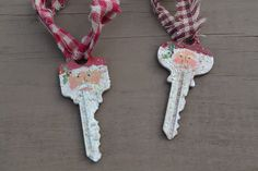 Hand Painted Santa Key Ornament by coriekline on Etsy