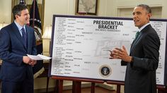 """President Obama has done a fantastic job showing himself as a sports fan in the White House. Other Presidents have talked about being the kind of candidate who """"you'd wanna grab a beer with,"""" President Obama has screened himself as a man who you'd want to play pick-up hoops with. Here, he is shown picking his NCAA tourney champions, a hugely popular American Practice. -Brian Hamlin"""