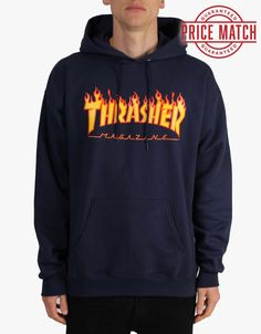 Thrasher Flame Logo Pullover Hoodie - Navy