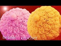 Gorro boina tejido en punto relieve de hojas redondas con flor a Crochet o Ganchillo - YouTube