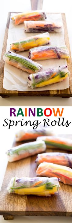 20 Minute Rainbow Vegetable Spring Rolls. Colorful and full of flavor. Served with a Sweet and Spicy Chili Sauce. Naturally vegan! | chefsavvy.com #recipe #appetizer #rolls #healthy