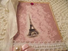 French Inspired Shabby Chic Card Eiffel Tower Ruffle by mslizz, $5.50