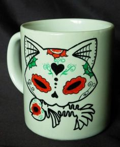 taza calavera mexicana gato  cerámica. pintado a mano