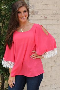 crochet-trimmed blouse with open flutter sleeves