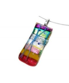 Handgemaakte multicolor hanger van dichroide glas! Unieke glashanger!