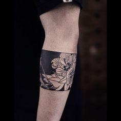 Blackwork lotus flower