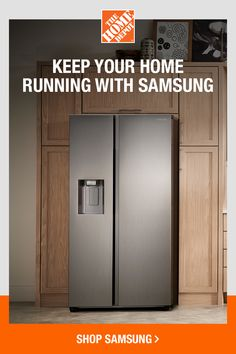 Grab an advanced look to your living space with the help of this excellent Samsung Side by Side Refrigerator in Fingerprint Resistant Stainless Steel. Tall Cabinet Storage, Locker Storage, Home Depot, Man Cave Room, Side By Side Refrigerator, Home Organization Hacks, Living Room Seating, Kitchen Cabinet Design, Home Remodeling