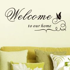 Rmoveable PVC Wall Sticker DIY Stickers Home Decoration Welcome to Our Home English Word Family Living Room Wall Decals Wall Stickers Welcome, Personalised Wall Stickers, Large Wall Decals, Wall Stickers Quotes, Custom Wall Decals, Vinyl Wall Quotes, Wall Decor Quotes, Removable Wall Stickers, Butterfly Wall Stickers