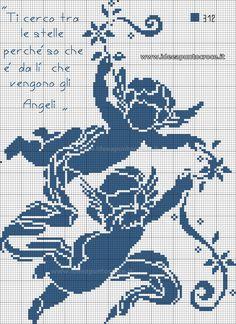 angeli monocolore schema punto croce