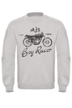 A retro classic Crew Top Sweatshirt featuring the AJS Boy Racer Motorcycle Print. A distressed print for that retro look and feel. We think these classic logos are great pieces of design and look fantastic. Cotton Polyester for a better Ajs Motorcycles, Retro Look, Printed Sweatshirts, Motorbikes, Stuff To Buy, Fashion, Moda, Fashion Styles, Motorcycles