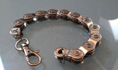 Probably could make this pretty easily. Bike Chain Bracelet Men's BMX Half Link by BeachBMXDesigns on Etsy, $11.99