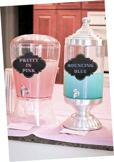 A fun way to present your drinks at a Gender Reveal Party! This is an Instant Download. You can print cut and tape the signs to the drink dispensers! Makes a great conversational Piece! You will receive: 1- PDF file with Drink dispenser signs in approximately 5x7 size for each sign both