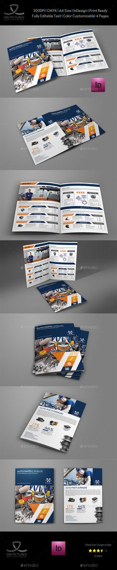 Auto Parts Catalog Bi-Fold Brochure Template InDesign INDD. Download here: https://graphicriver.net/item/auto-parts-catalog-bifold-brochure-template-vol2/17599812?ref=ksioks