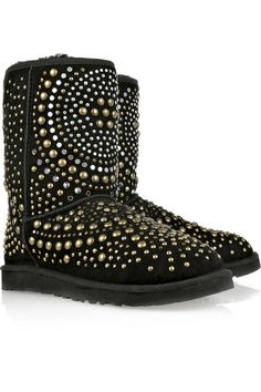 Jimmy Choo Mandah Studded Suede Boots  Black suede shearling-lined boots with silver and gold stud detailing. UGG & Jimmy Choo boots have stitched seams, a twill trim, a designer logo at back, a gripped sole and simply pull on.